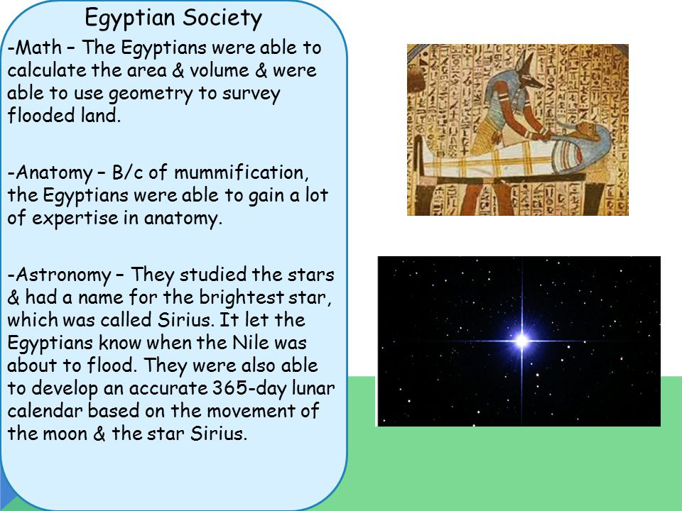 Egyptian Society -Math – The Egyptians were able to calculate the area & volume & were able to use geometry to survey flooded land.