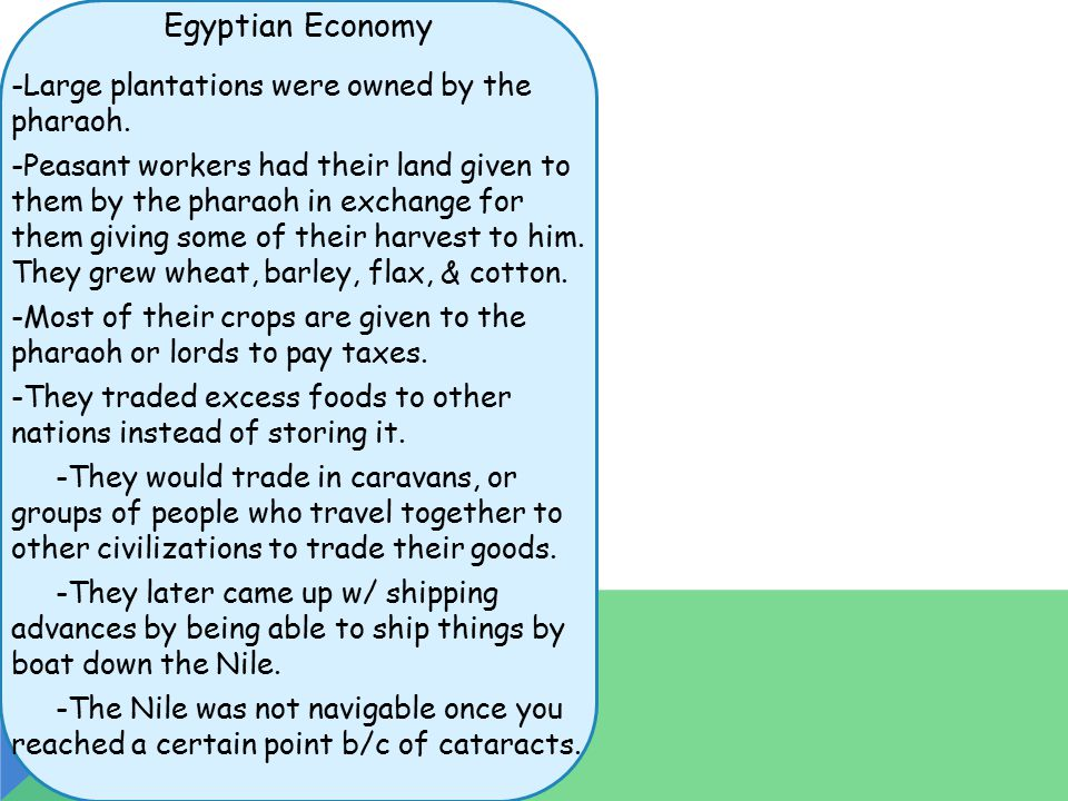 Egyptian Economy -Large plantations were owned by the pharaoh.