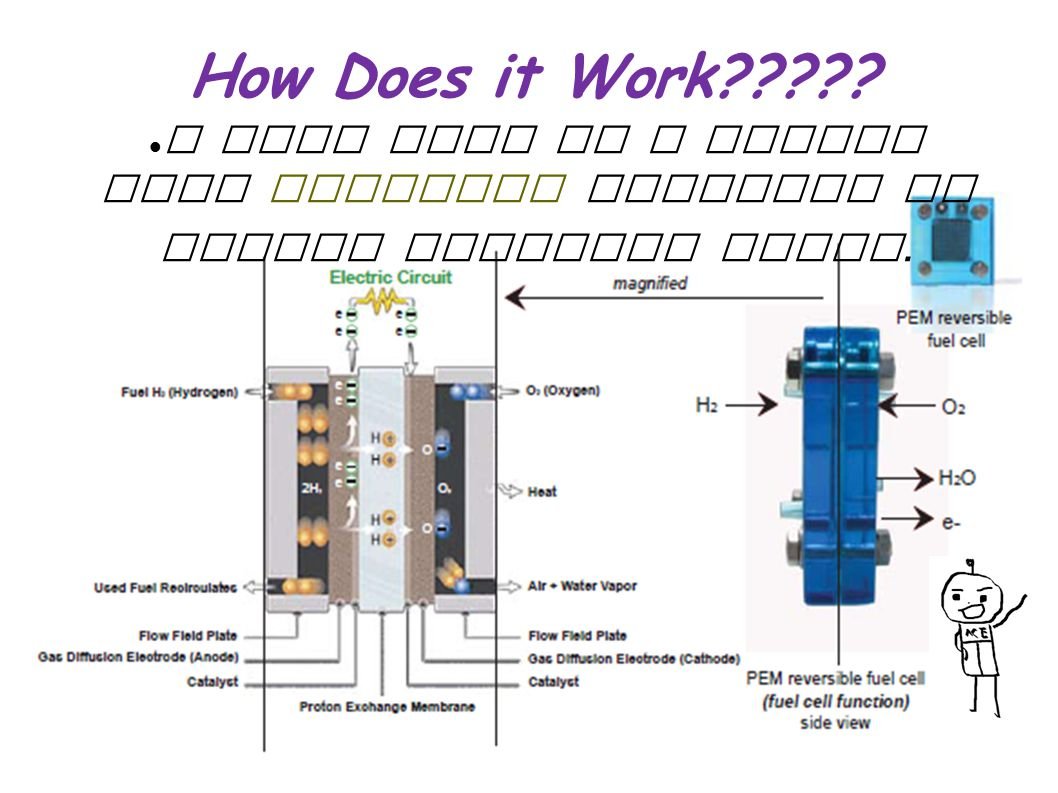 How Does it Work A fuel cell is a device that converts hydrogen to usable electric power.