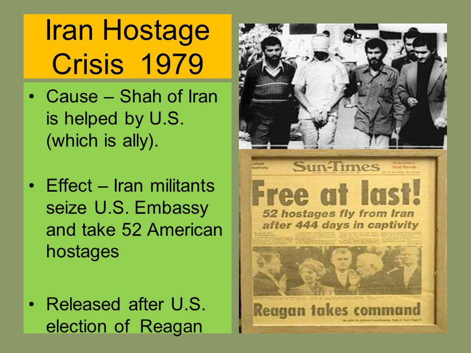 the cause and effect of the iranian hostage crisis of 1979 The iran hostage crisis lasted from november 4, 1979 until january 20, 1981,   as a result, a federal judge ruled that nothing could be done to.