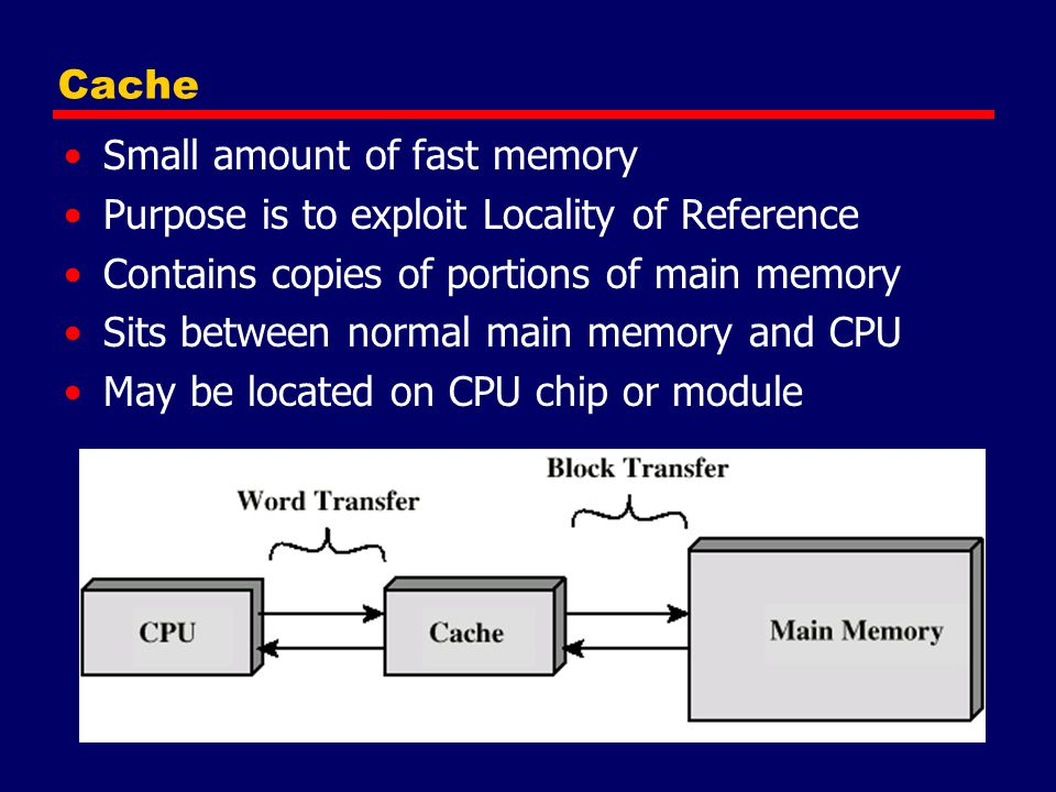 Cache Small amount of fast memory. Purpose is to exploit Locality of Reference. Contains copies of portions of main memory.