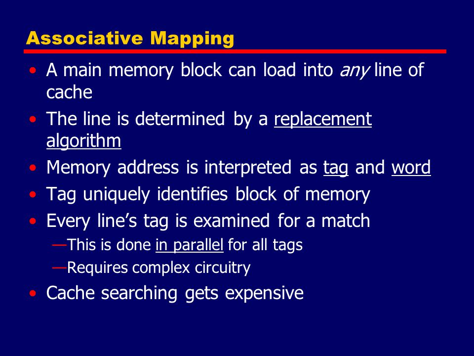 A main memory block can load into any line of cache