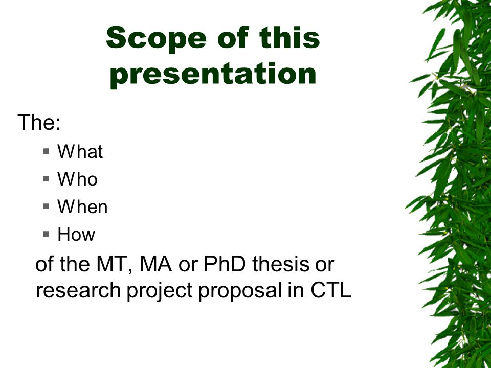 Research scope dissertation