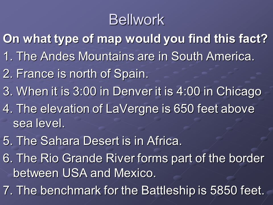 Bellwork On What Type Of Map Would You Find This Fact Ppt Download - Find elevation above sea level