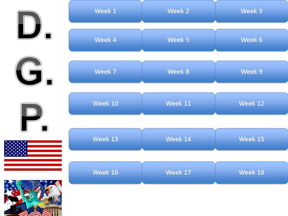 D. G. P. Week 1 Week 2 Week 3 Week 4 Week 5 Week 6 Week 7 Week 8