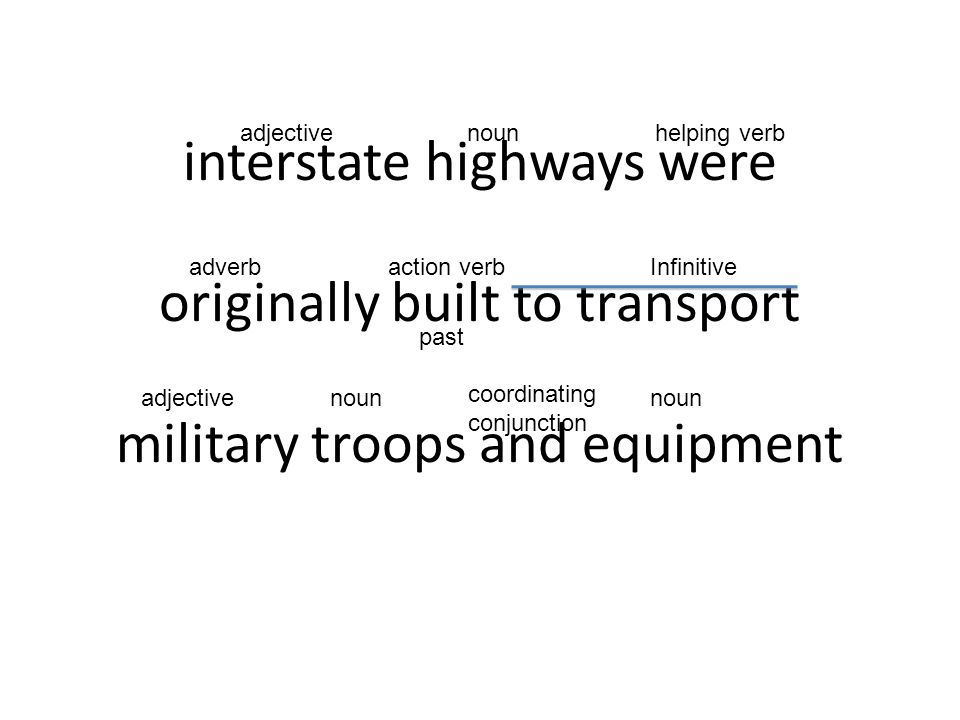 adjective noun. helping verb. interstate highways were originally built to transport military troops and equipment.