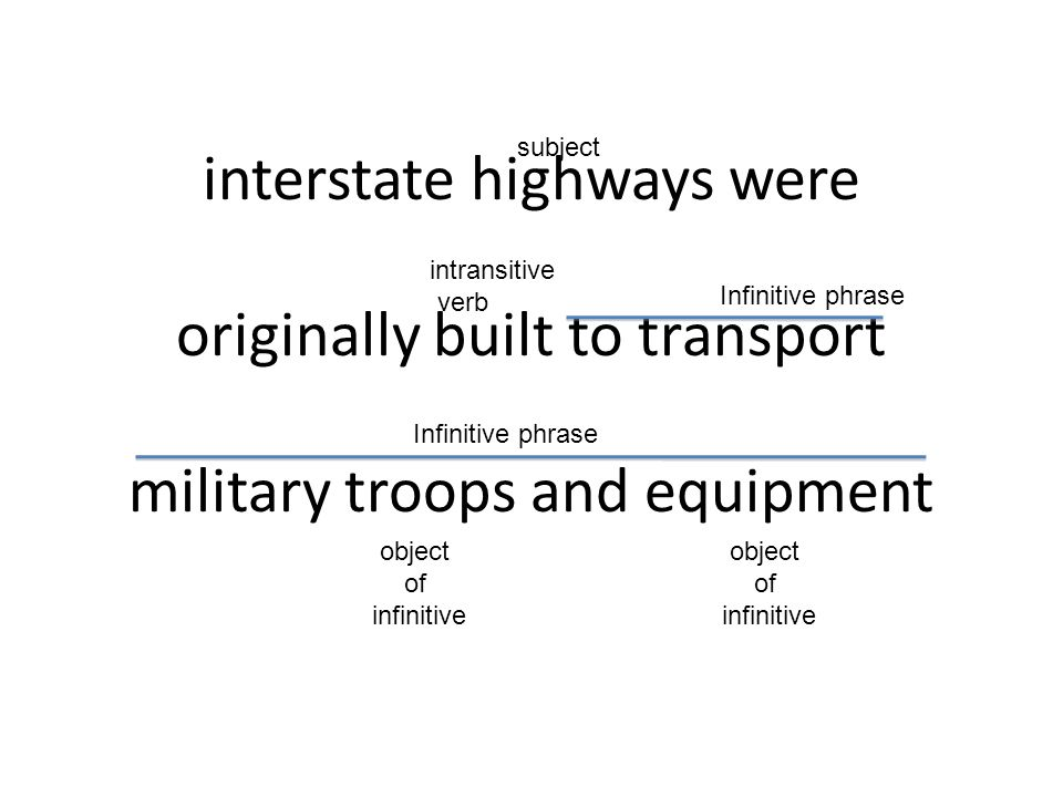 subject interstate highways were originally built to transport military troops and equipment. intransitive.