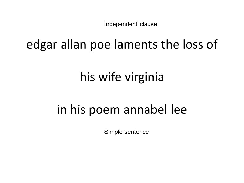 Independent clause edgar allan poe laments the loss of his wife virginia in his poem annabel lee.