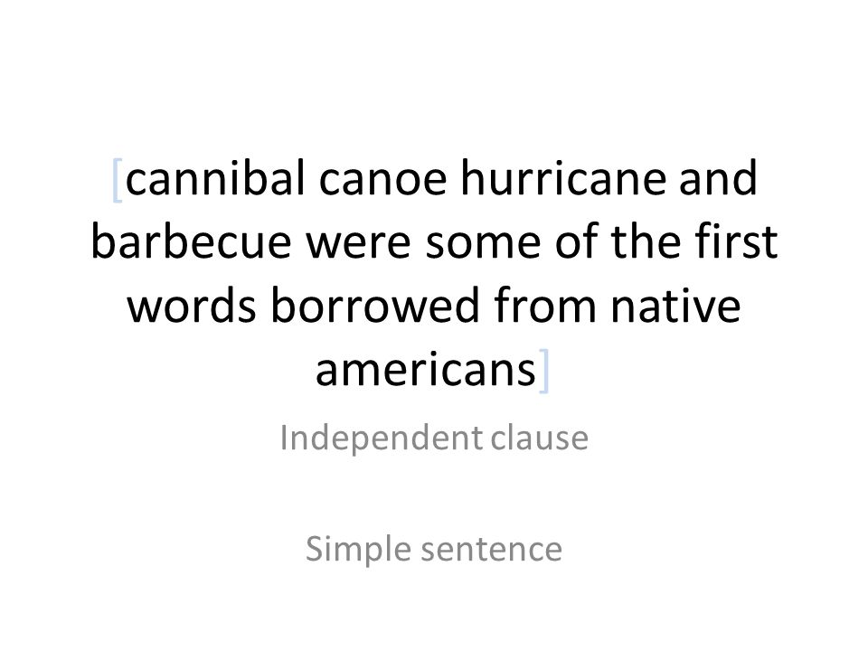 Independent clause Simple sentence