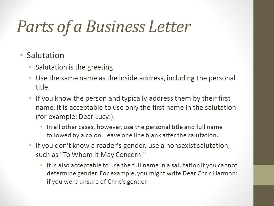Salutation In A Letter from slideplayer.com