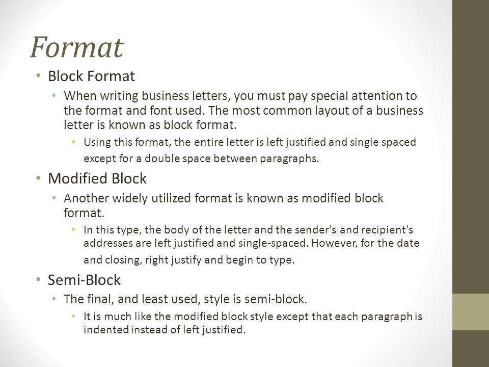 Writing the basic business letter ppt download 6 format block spiritdancerdesigns Gallery