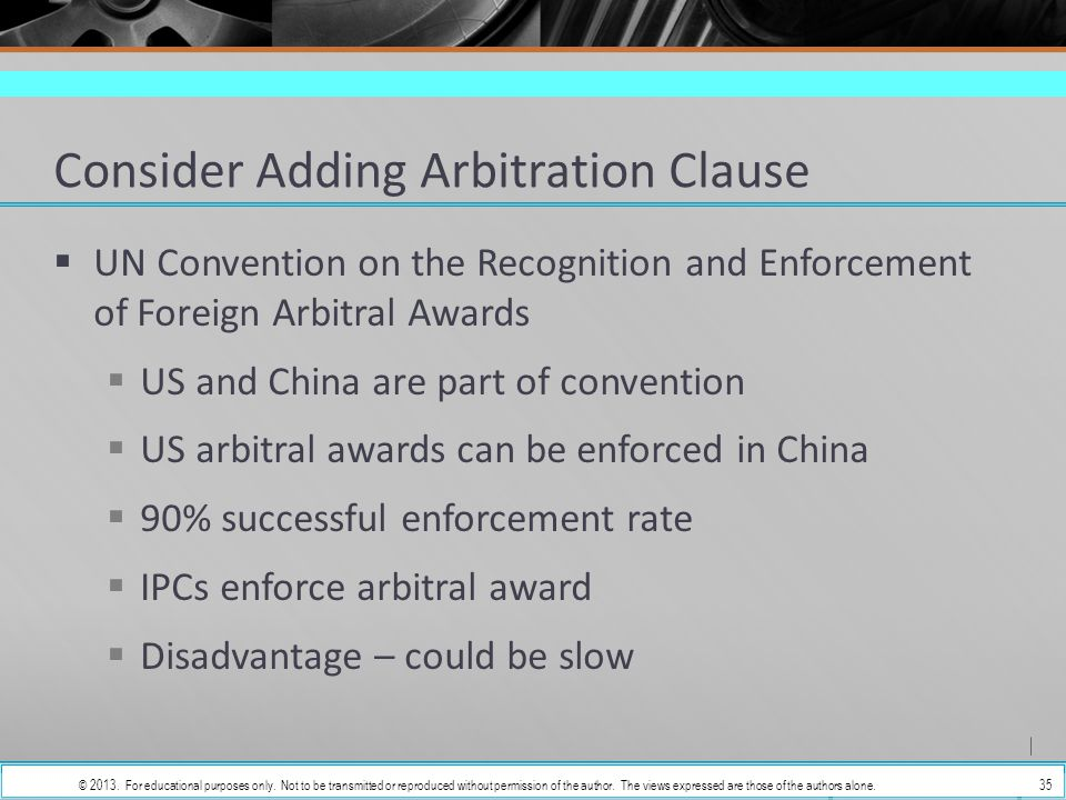 enforcement of a foreign arbitral award United nations convention on the recognition and enforcement of foreign arbitral awards (new york, 10 june 1958) united nations (un) copy @ lex mercatoria.