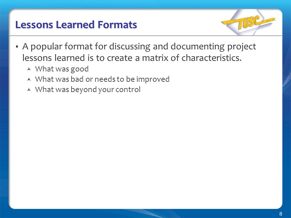 how to perform a lessons learned session with your project team, Presentation templates