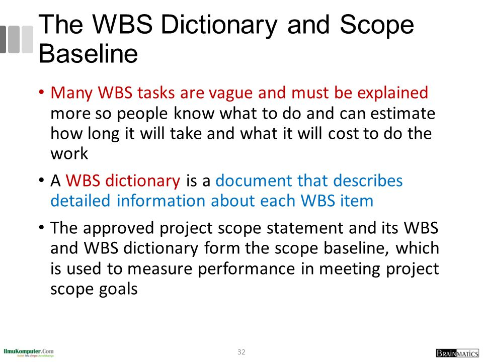 bank project scope statement wbs A project work breakdown structure (wbs) is a deliverable or product -oriented grouping of project work elements shown in graph ical display to organize and subdivide the total work scope of a project.