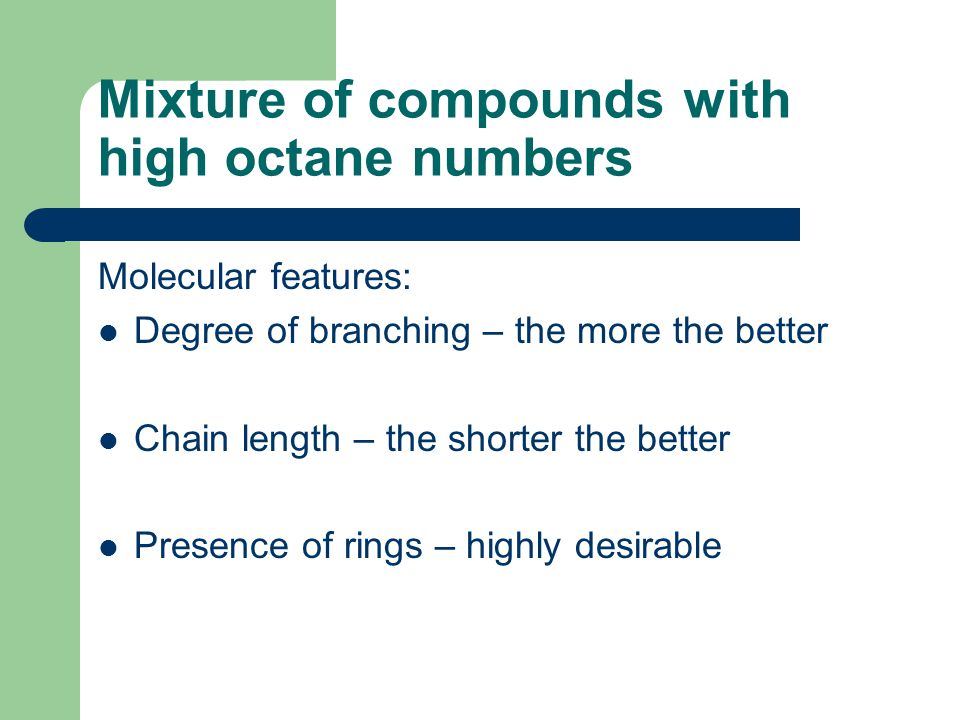 Mixture of compounds with high octane numbers