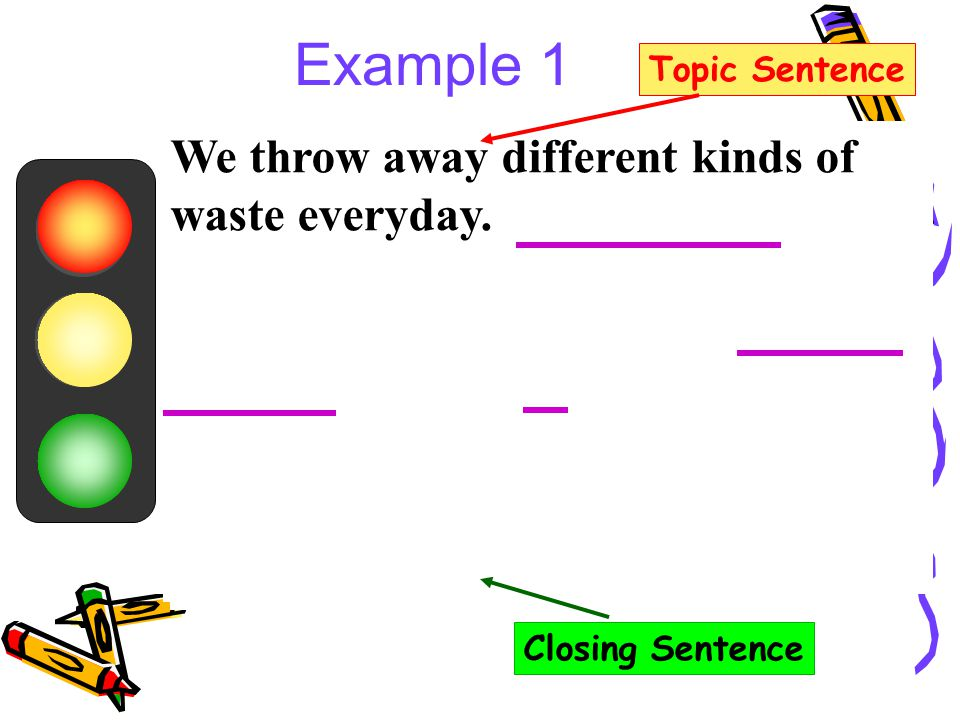 recycling and topic sentence Writing a good topic sentence involves introducing the topic, hooking the reader, planting questions in the readers' mind, using thought -provoking words, and proper placement.
