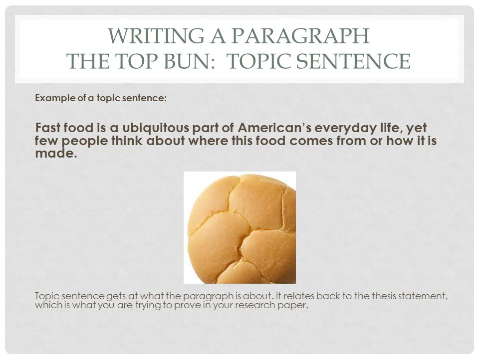 Topic Sentence About Fast Food