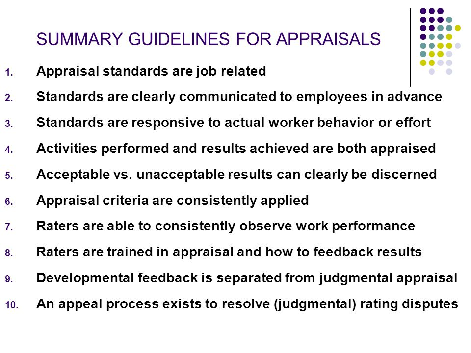 SUMMARY GUIDELINES FOR APPRAISALS