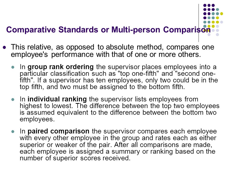 Comparative Standards or Multi-person Comparison
