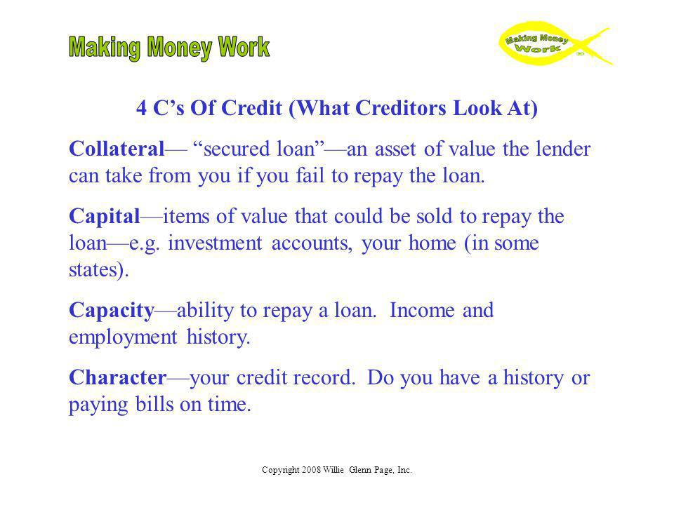 4 C's Of Credit (What Creditors Look At)