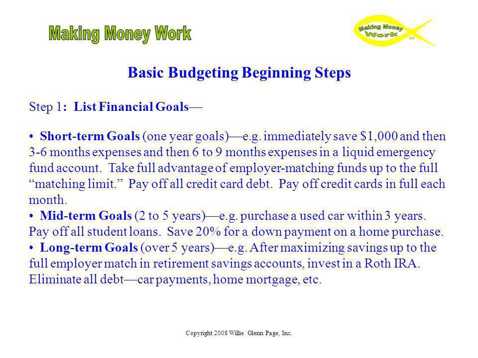Basic Budgeting Beginning Steps