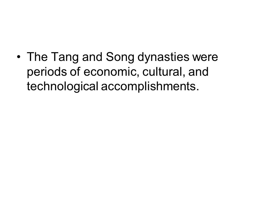 tang and song dynasties tecnological developments essay The tang dynasty - the tang dynasty introduction the tang dynasty is perhaps one of the most renowned dynasties in chinese history for several reasons, most of which relate to the prominence that it led china to during its reign.