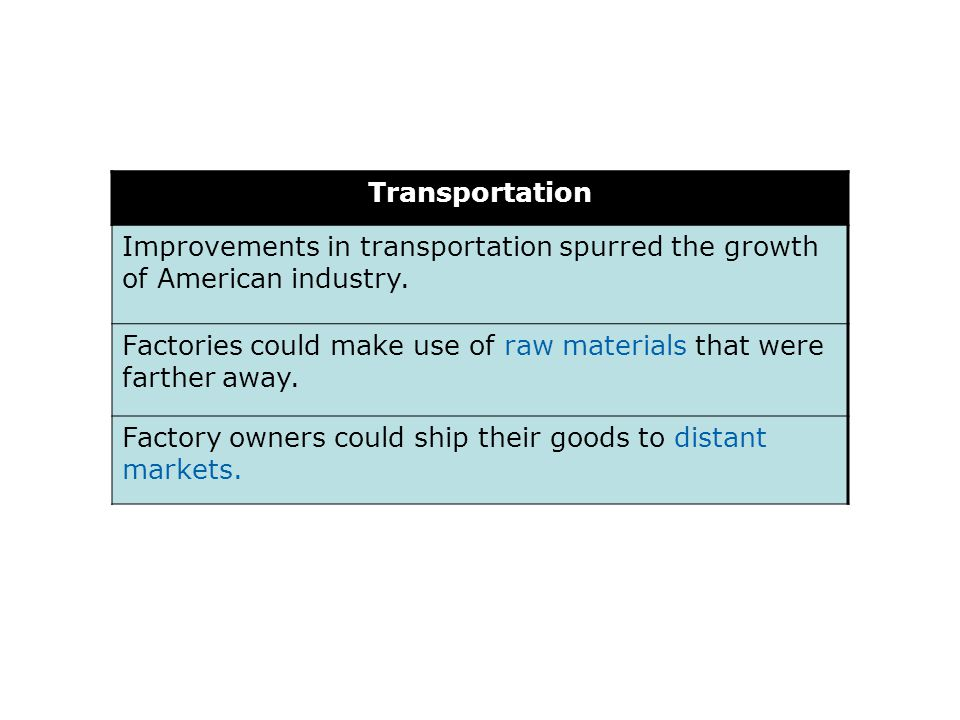 Transportation Improvements in transportation spurred the growth of American industry.