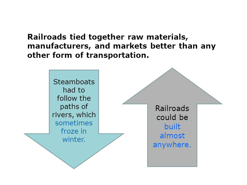 Railroads could be built almost anywhere.