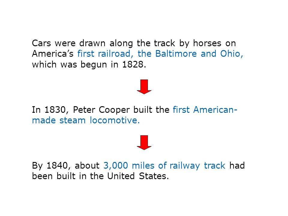 Cars were drawn along the track by horses on America's first railroad, the Baltimore and Ohio, which was begun in 1828.