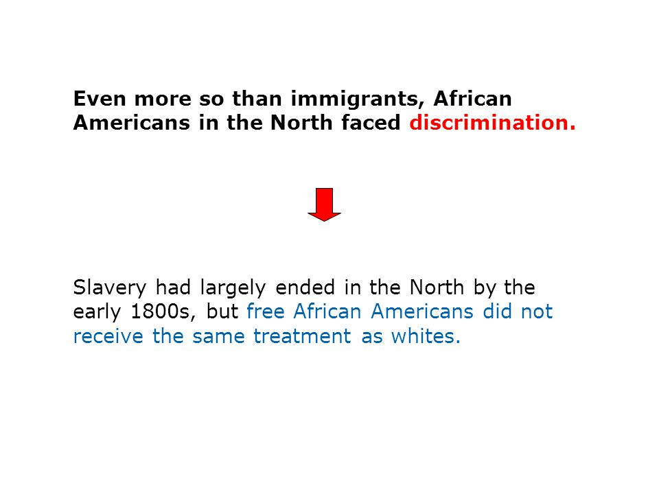 Even more so than immigrants, African Americans in the North faced discrimination.