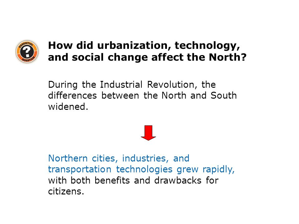 How did urbanization, technology, and social change affect the North