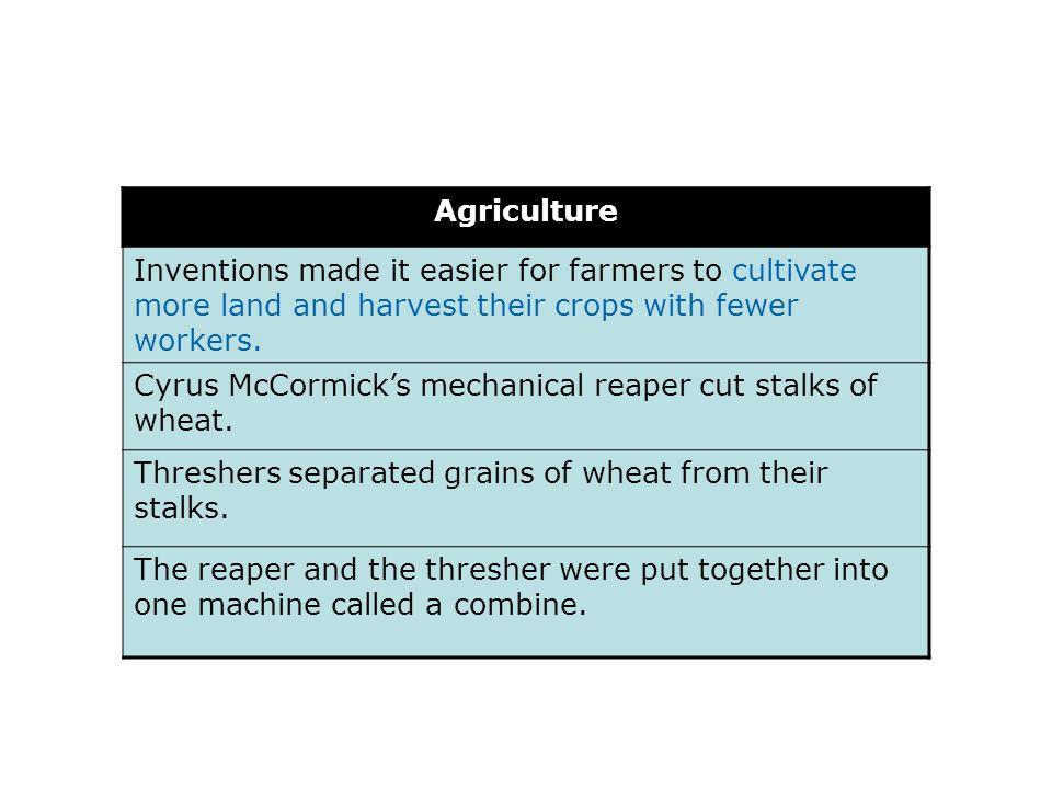 Agriculture Inventions made it easier for farmers to cultivate more land and harvest their crops with fewer workers.