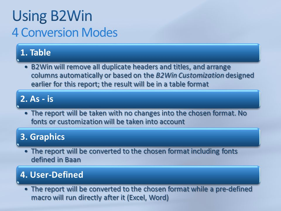 Using B2Win 4 Conversion Modes