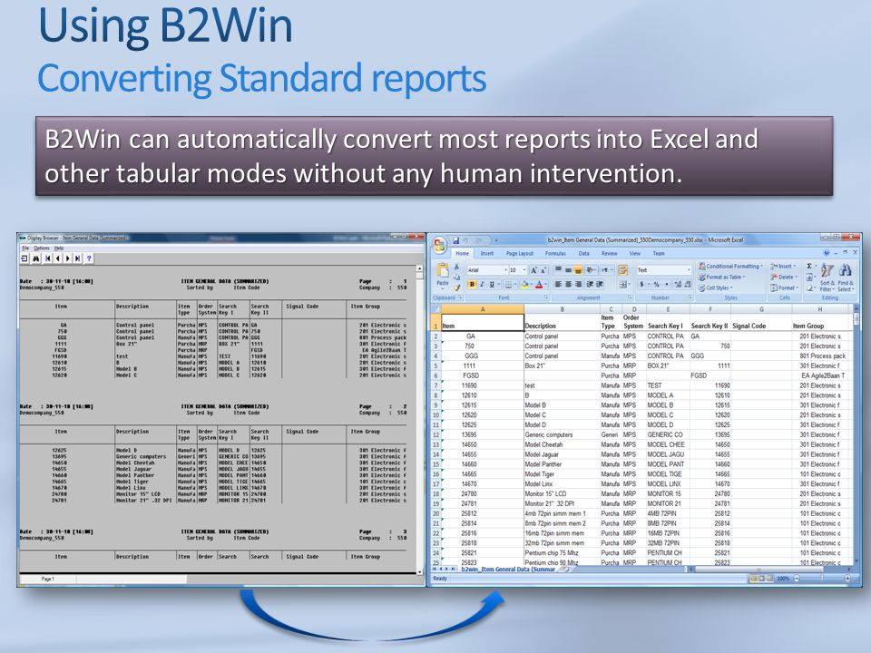 Using B2Win Converting Standard reports