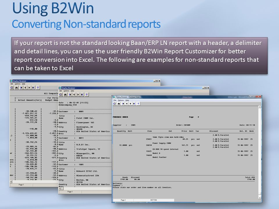 Using B2Win Converting Non-standard reports