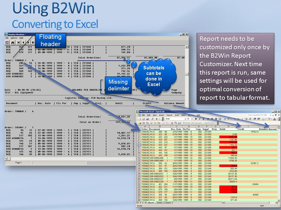 Using B2Win Converting to Excel