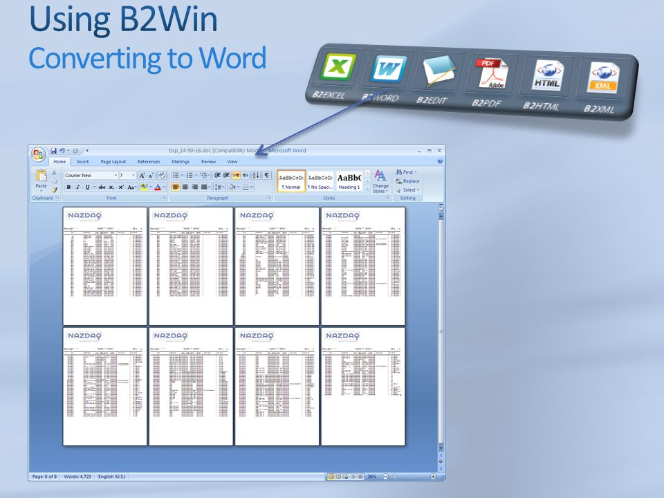 Using B2Win Converting to Word