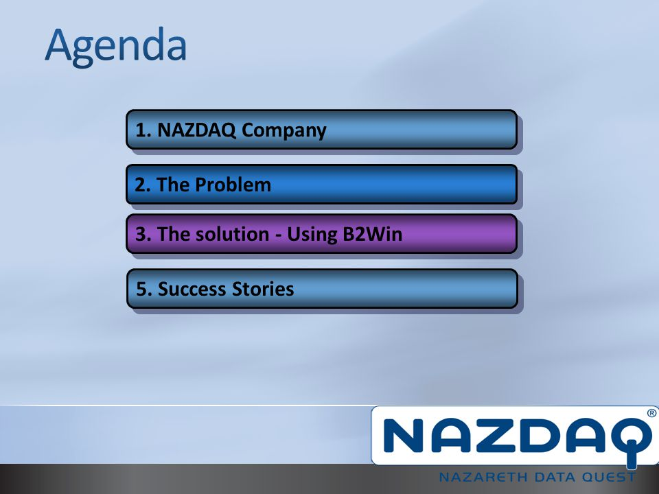 Agenda 1. NAZDAQ Company 2. The Problem 3. The solution - Using B2Win