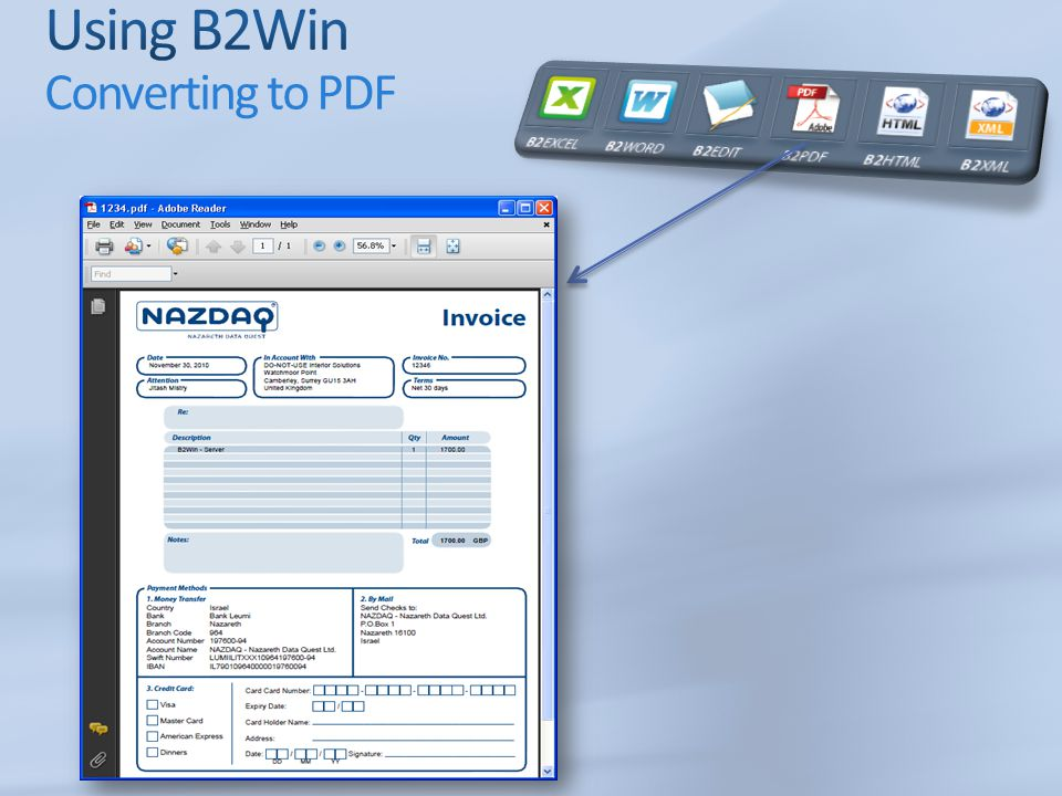Using B2Win Converting to PDF