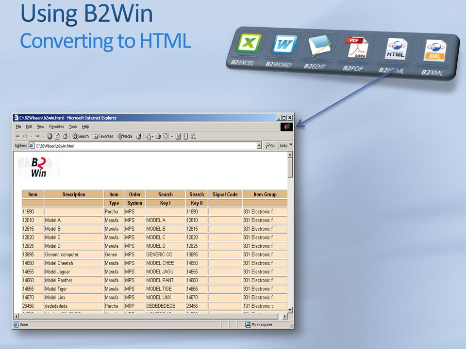 Using B2Win Converting to HTML