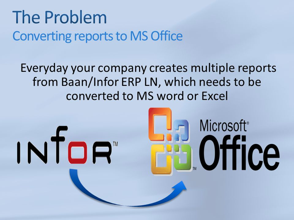The Problem Converting reports to MS Office