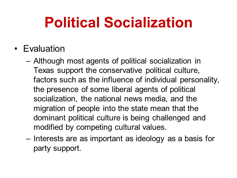 What are the factors responsible for the socialization process?