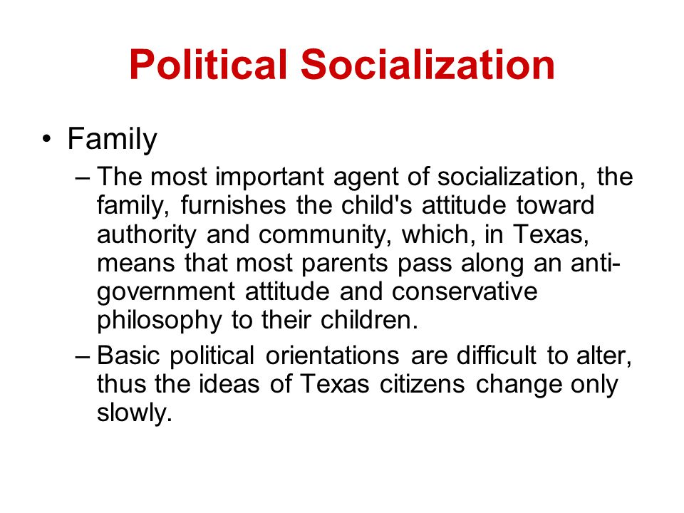 agent of socialization First source influence of social class/employment - blue collar/jobs close supervision expect their children's lives to be like theirs stress obedience and outward conformity.