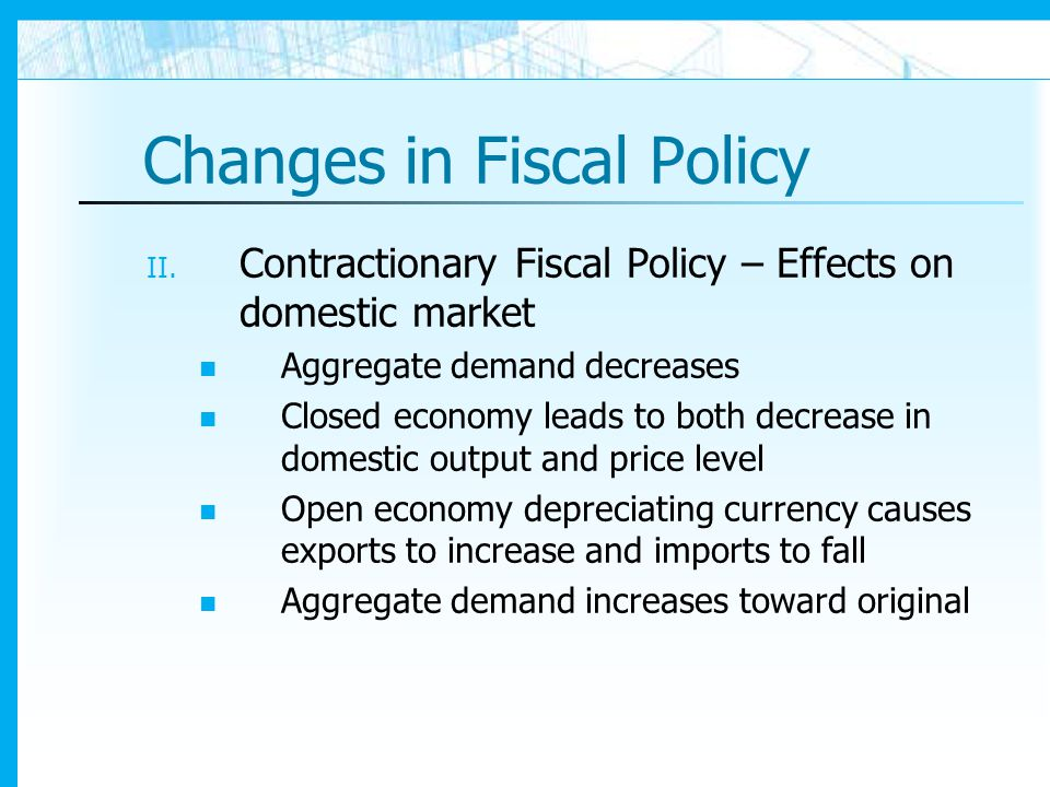 Changes in Fiscal Policy