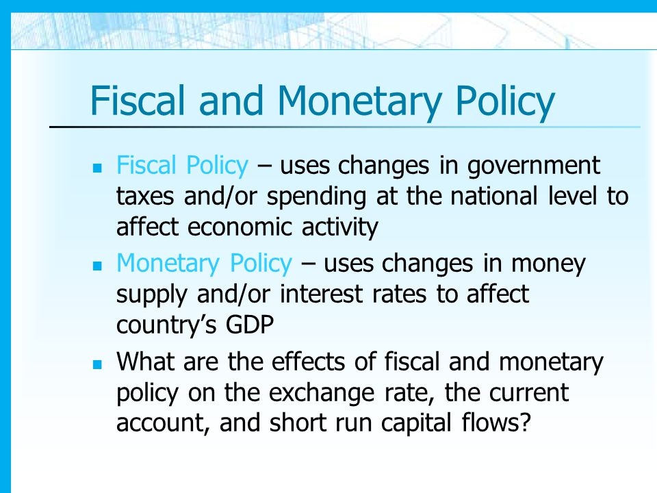 fiscal and monetary policy in an Both monetary and fiscal instruments have been continuously and rather  systematically used in swedish stabilization policy during the entire postwar  period.