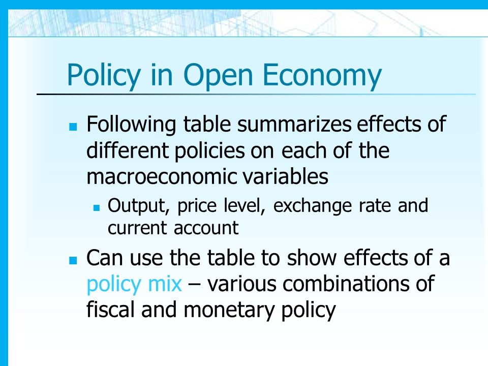 Policy in Open Economy Following table summarizes effects of different policies on each of the macroeconomic variables.