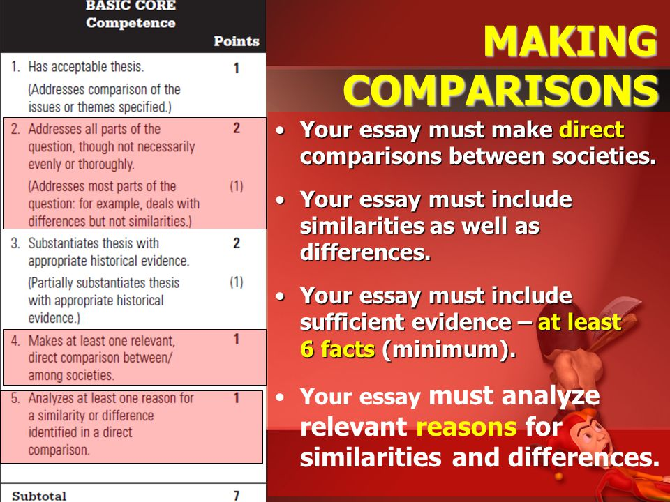 "writing a ""killer"" compare contrast essay ppt video online  making comparisons your essay must make direct comparisons between societies your essay must include similarities"