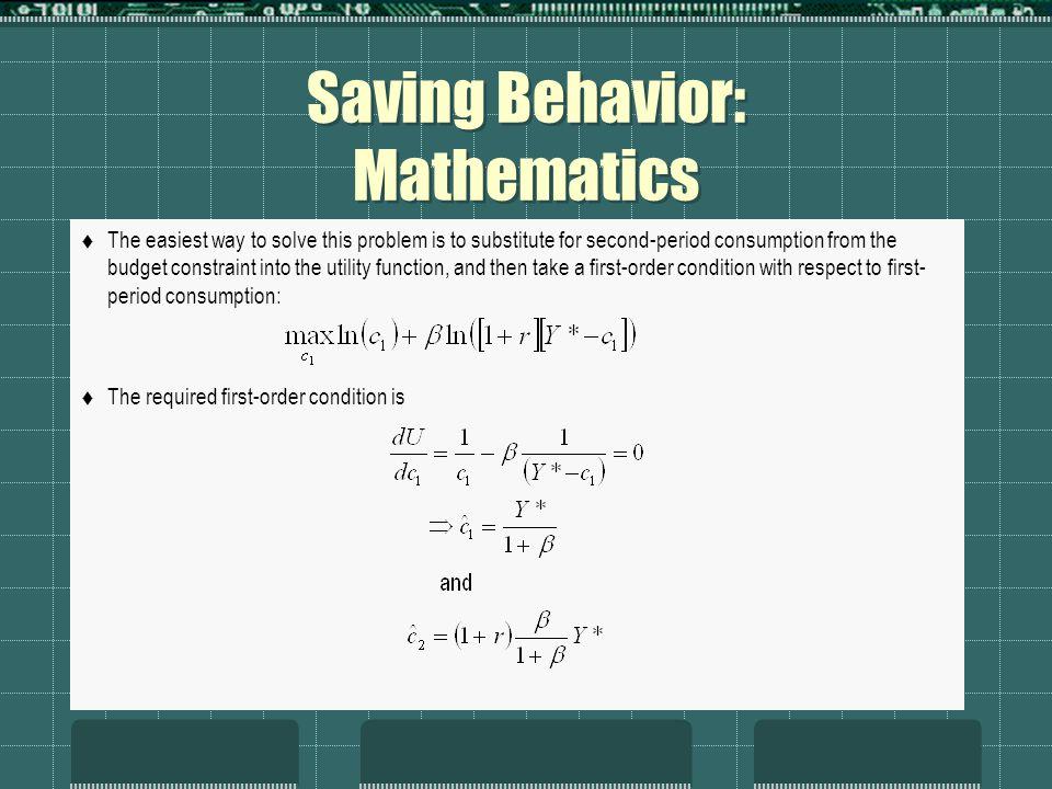 saving behaviour Determinants of the forms of saving, including consistency index terms—saving, saving behavior, saving instruments i introduction.