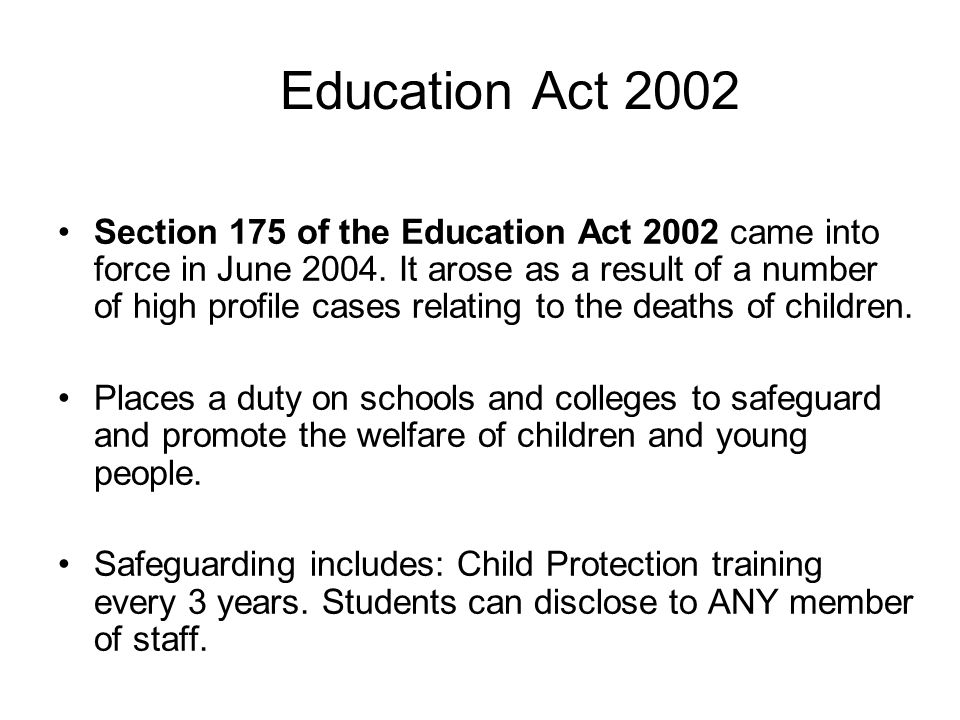 the education act 2002 The childcare act of ilana 2006 (c 21) is an act of the parliament of the united  kingdom contents 1 summary 2 structure of the act 3 early years foundation .
