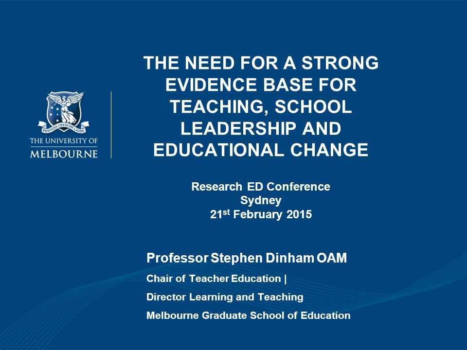 THE NEED FOR A STRONG EVIDENCE BASE FOR TEACHING, SCHOOL LEADERSHIP AND EDUCATIONAL CHANGE Research ED Conference Sydney 21st February 2015